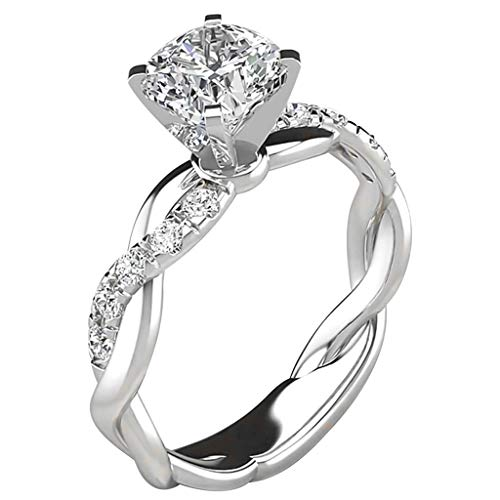 Clearance Deals Rings,Silver Ring Womens Diamond Engagement Wedding Band Rings Jewelry Gift for Moms (Silver, 8)