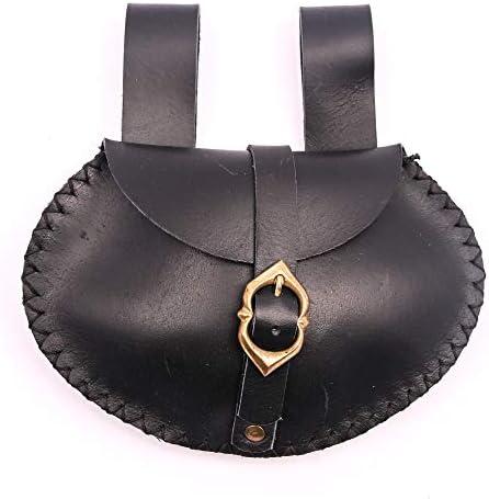 Mythrojan Medieval Viking Leather Belt Pouch LARP Renaissance Waist Bag Black product image