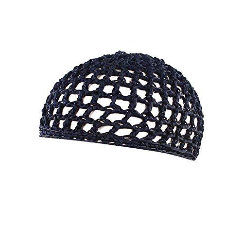 SEWORLD Frauen Schlafmütze Handgemachte Gehäkelte Haarnetz Taschennetz Gelockte Hand Häkelarbeit Haar Mütze Nachtkappe Haarschmuck(Marine)