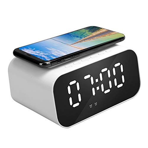 Xuzuyic Bluetooth Speaker,Wireless Charger Power Bank and LED Display Alarm Clock,Fast Charging Stand Suitable for Home and Office (Blanco)