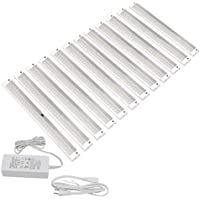 EShine White Finish 12 Panels 12 inch LED Dimmable Under Cabinet Lighting Kit