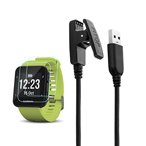 JIUJOJA for Garmin Forerunner 35 30 Charger Charging Clip Synchronous Data Cable and 2Pcs Free HD Tempered Glass Screen Protector Replacement Charger for Garmin Foreruuner 35 Smart Watch