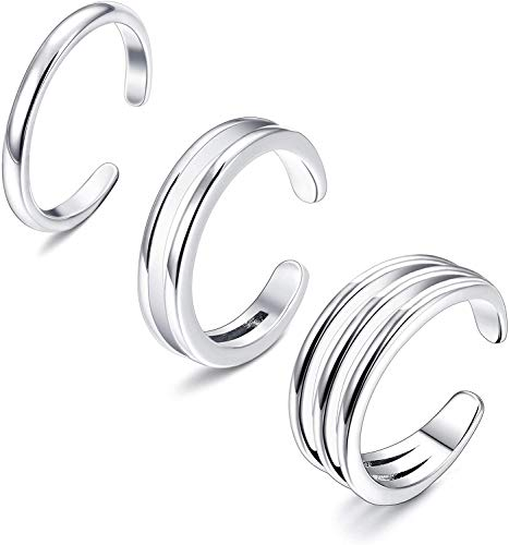 Adramata 925 Sterling Silber Minimalist Zehenringe Set Einfache offene dünne Band Ring verstellbar für Frauen Mädchen
