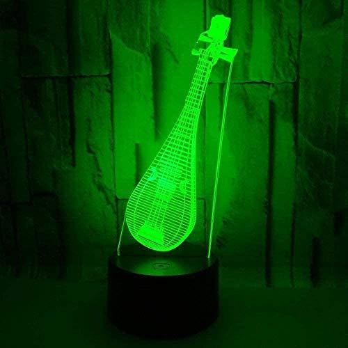 YOUPING Smart APP Control Regulable Luz Noche 3D Lámpara de Luz de 7 Colores Instrumento Musical pipa7 Cambio de Color Acrílico LED Luz de Noche de Navidad Regalos de Cumpleaños para Niños Niñas