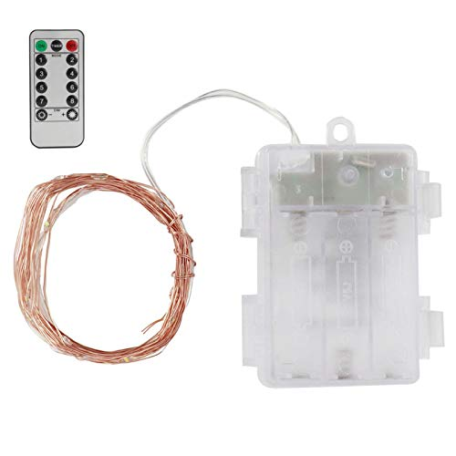 Cadena de luz LED Luz suave romántica con cable de cobre teledirigido ajustable para fiesta(White light)