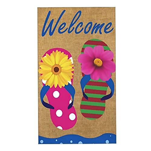 COFEIYISI Toallas de Manos Flip Flop Bienvenido Verano Toalla Facial Toalla de baño pequeña Microfibra Suaves y Absorebentes Esencial para Viajar a casa 40x70cm