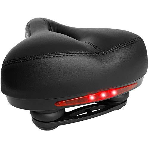 Jerbens Fahrradsattel, Komfort, Memory-Schaum, sehr bequem, mit Stoßdämpfer und integrierten LEDs – für Mountainbike, Trekking, Rennrad und Heimtrainer – Herren, Damen und Kinder