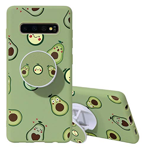 KAPUCTW Samsung Galaxy S9 Case with Stand Grip Holder Kickstand, Galaxy S9 Slim Silicone Shockproof TPU Back Cover with Cute Marble Flower Cartoon Design for Girls Women,Green Avocado