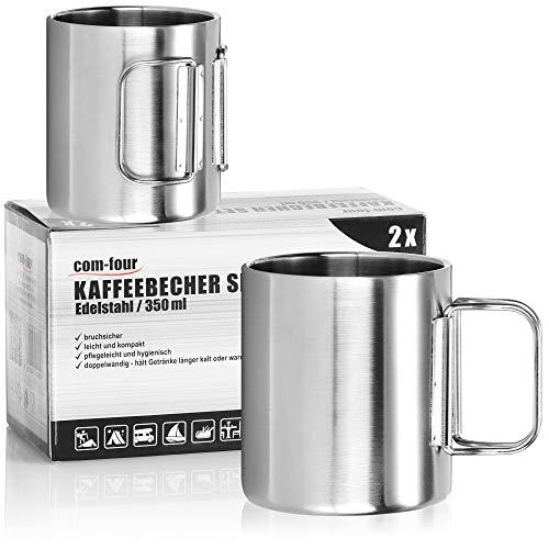 com-four® 2X Edelstahl-Kaffeebecher - 350 ml je Kaffeetasse - Thermo-Trinkbecher aus hochwertigem Edelstahl mit Klapphenkel - doppelwandige Isolierbecher - BPA-frei (silberfarben - 350ml - 2 Stück)