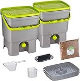 Skaza Bokashi Organko Set (2 x 16 L) Composteur 2X pour Jardin et Cuisine en Plastique Recyclé | Kit de démarrage avec Activateur de Fermentation Bokashi Organko 1 kg (Gris-Lime)