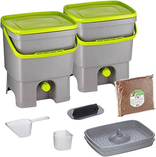 Skaza Bokashi Organko Set (2 x 16 L) 2X Garten- und Küchenkomposter aus Recyceltem Kunststoff | Starterset mit Fermentationsaktivator Bokashi Organko 1 kg (Grau-Limette)