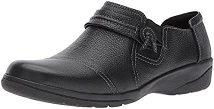 Clarks Women's Cheyn Madi Loafer, Black Tumbled Leather, 9 W US