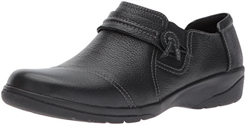 Clarks Womens Cheyn Madi Loafer, Black Tumbled Leather, 6 M US