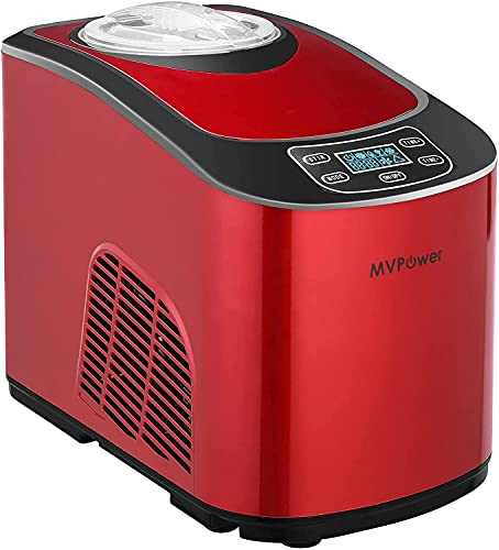 MVPower Rot Eismaschine 2L,Speiseeismaschine mit Kompressor 140W,Automatisch Selbstkühlendem Speiseeisbereiter,LCD-Anzeige,Zwei Möglichkeiten(Weich oder Hart Eiscreme),für Eis,Joghurt und Sorbet