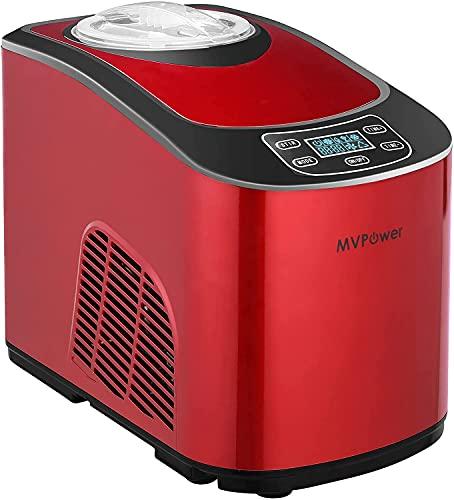 MVPower Heladera,Maquina de Helados 1.5L, Heladera con compresor 140W, Heladera automática con autorefrigeración, pantalla LCD, dos opciones (helado suave o duro), para helado, yogur y sorbete,Rojo