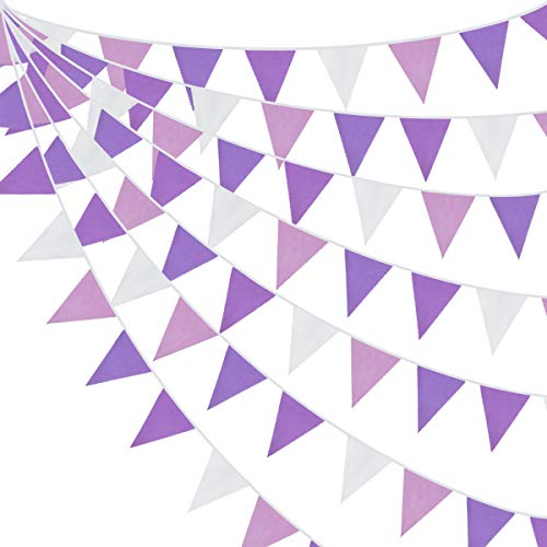 10M/32Ft Purple Party Decorations Kit Light Color Reusable Banner Fabric Triangle Flag Cotton Bunting Garland Kit for Wedding Birthday Home Nursery Outdoor Garden Hanging Festivals Parties Decorations