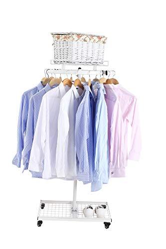NEUN WELTEN Profi Ringständer stabil auf Rollen mit Regal und Körbe Kleiderbügel für Kleidung - Textilständer Verkaufsständer (Weiß, 2 Regale)