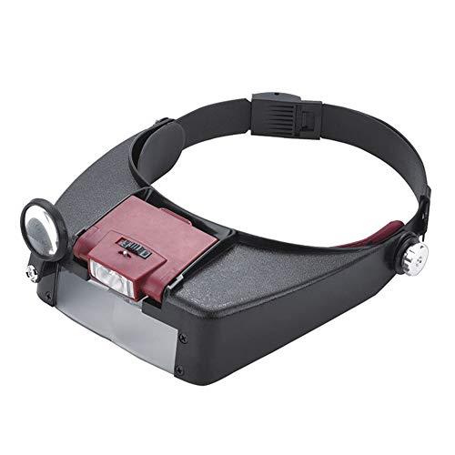 ZXlife @ vergrootglas haarband, vergrootglas, handsfree functie, dubbel licht, loepbril met LED-licht en 4 lenzen, instelbare grootte en hoek van de lens