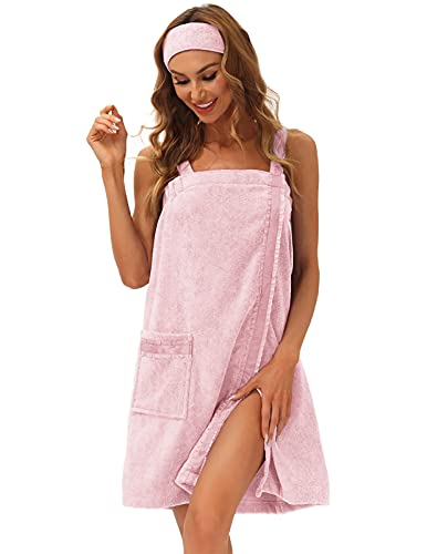 Womens Wrap Towel Set After-Shower Soft Quick-dry Bathrobe with Straps Headband XL