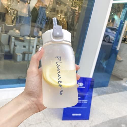 ボトル 水筒 400ml 500ml ポータブルストロースポーツウォーターボトル BPAフリー プラスチックウォーターボトル 大人 子ども アウトドア スポーツ 登山用 キャンプ ランニング ジム 自転車 (500ML,white)