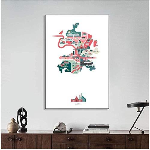 Canvas print,Vintage klassieke kunst huis ideeën Austin Amerika Verenigde Staten stad kaart Abstract schilderij illustratie Decor Housewarming cadeau idee Creativiteit-50x70cm