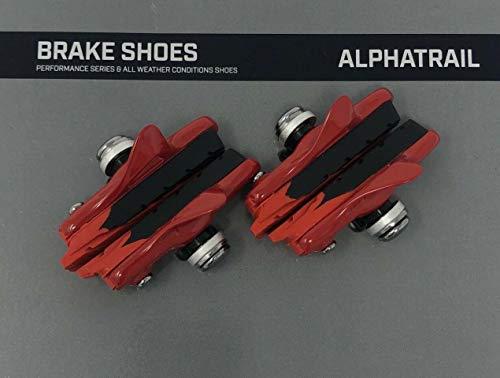 Alphatrail 4X Fahrrad Bremsbeläge Felgenbremse - 55mm Rot Rennrad Für Shimano, SRAM, Cane Creek, Langlebige & Passgenaue Bremsklötze