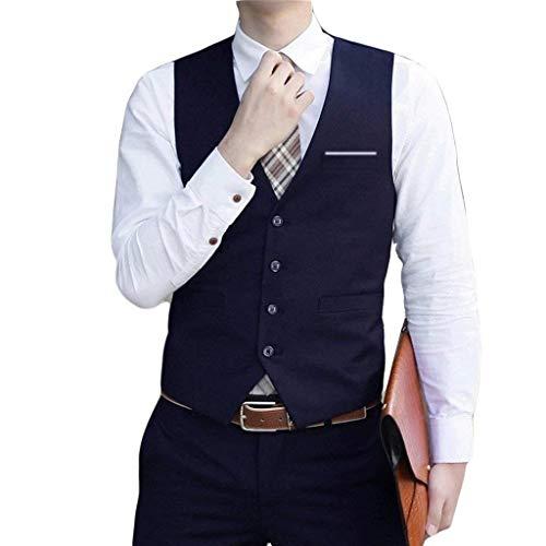Men's Formal Dress Suit Tuxedo Waistcoat Coat Slim Business Suit Classic Vests Formal Hochzeit Fashionable Designed Anzugsweste Jungs (Color : Dunkelblau, Size : S)