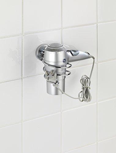 WENKO 22324100 Vacuum-Loc Haartrocknerhalter Capri - Befestigen ohne bohren, Zinkdruckguss, 10 x 9.5 x 15.5 cm, Chrom