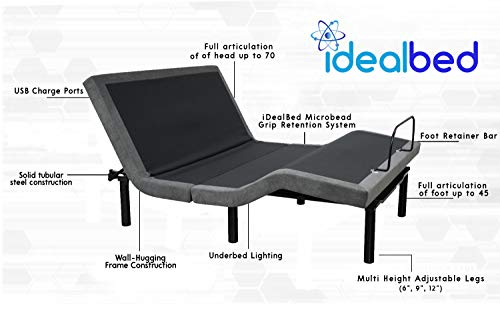 iDealBed 5i Custom Adjustable Bed Base, Wall Hugger, Massage, Zero-Gravity, Dual USB Charger, One Touch Comfort, Programmable Memory, Night Light, Advanced Smooth Silent Motion (King)