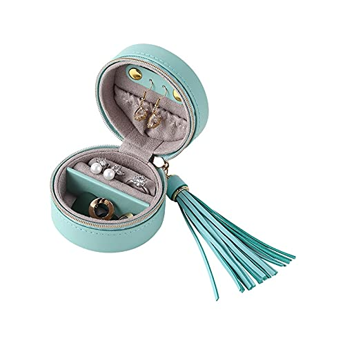Caja de joyería Pequeño Recorrido portátil Redondo Caja de joyería Organizador Mini PU Pendientes de Cuero Anillo Collar joyería ataúd de Mujer Caso Organizador (Color : Blue)