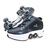 Double-Row Deform Wheel Deformation Automatic Walking Shoes Invisible Roller Skate 2 in 1 Removable Pulley Skates Skating,Black,43