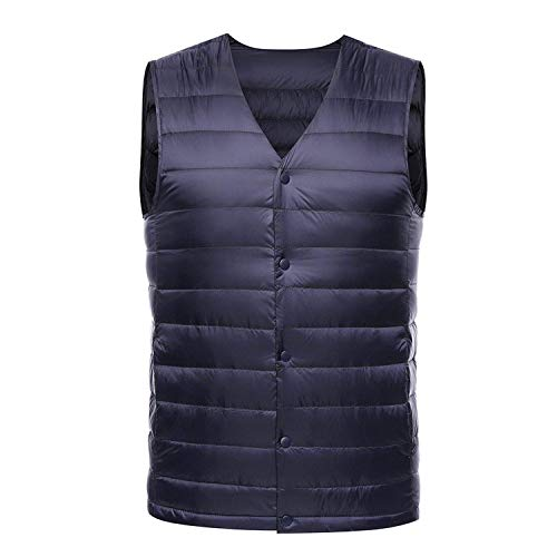LIAOYLY Vest Men Spring Autumn Sleeveless Collarless Vest Male Casual Winter White Duck Down Waistcoat,Large,Blue