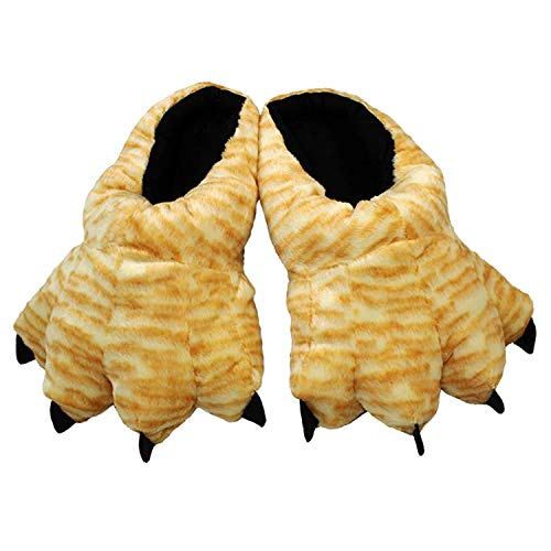 Wishpets Stuffed Animal Slippers - Soft Plush Toy Slim Slippers for Kids and Adults (Large (Womens 10-12, Mens 9-14), Tabby Paw)