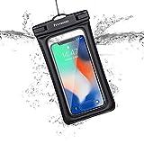 防水ケース【最新版 & 指紋認証/Face ID認証対応】 スマホ用 IPX8認定 完全保護 防水携帯ケース 完全防水 タッチ可 顔認証 気密性抜群 iPhone 12 Pro XS MAX XR X 8 7 6s 6 Plus SE 5s Samsung galaxy S10 S9 Huawei P40 P30 Mate30 Proに対応 7インチ以下全機種対応 防水カバー 水中撮影 お風呂 海水浴 水泳など適用 透明 (ブラック)