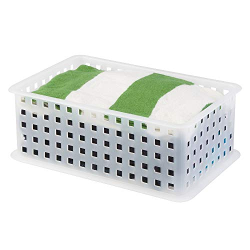 iDesign Modulon Plastic Storage Organizer Basket for Bathroom, Health, Cosmetics, Hair Supplies, and Beauty Products, 5 x 8.75 x 6 - Frost White