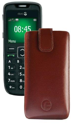 Original Favory Etui Tasche für / Doro PhoneEasy 508 / Leder Etui Handytasche Ledertasche Schutzhülle Hülle Hülle Lasche mit Rückzugfunktion* in Braun