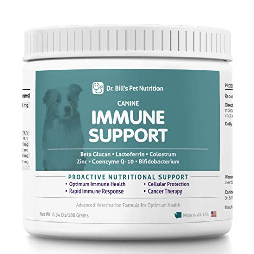 Dr. Bill's Canine Immune Support | Pet Supplement | Immune Support for Dogs | Colostrum for Dogs | Includes Beta Glucan, Lactoferrin, Colostrum, Zinc, Coenzyme Q-10, and Bifidobacterium