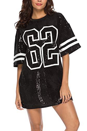 Vestidos Mujer Camiseta Vestido Casual Lentejuelas Verano Vestido Manga Corta Club Mini Vestidos de Fiesta Black XL