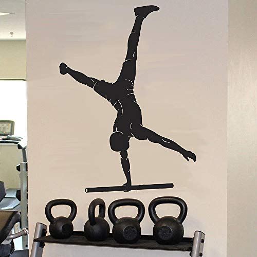 Gymnast muur sticker atleet training training fitness deuren en ramen vinyl sticker gym dans kamer interieur behang kunst 63x85.5cm