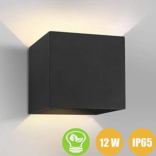 Aplique pared led 12W Impermeable IP65 Lamparas de Pared Blanco Cálido apliques pared exterior con diseño de ángulo de haz ajustable led Apliques