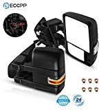 ECCPP Tow Mirrors Towing Mirrors Compatible with 2004-2014 for Ford F-150 Pickup Truck with Left Right Side Power Control Heat Turn Signal Puddle Light with Black Housing