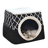 Cama 2 en 1 para mascotas, cama de gato y perro, sofá cama para gatos, con cojín desmontable, lavable y plegable, forma de cueva para gatos y perros pequeños, color gris (negro)