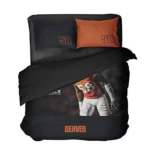 Ebedr 3PCS Colorado State Football Player Number 58 Bed Twin Set Denver Duvet Cover Athlete Flat Sheet Cool Sportsman Bedding Sets for Men