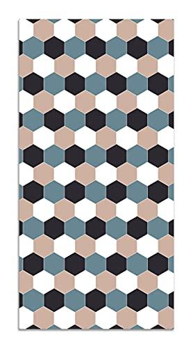 Panorama Alfombra Vinílica Mosaico Hexágonos Tono Azul 80x300 cm - Alfombra Cocina Vinilo - Alfombra Salón Antideslizante e Ignífuga - Alfombras Grandes - Alfombras PVC