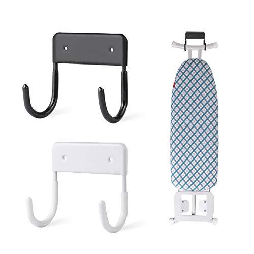 AIEVE Gancho para tabla de planchar, 2 piezas para colgar tabla de planchar, soporte de pared, soporte de pared grande y pequeña, soporte de pared (blanco y negro)