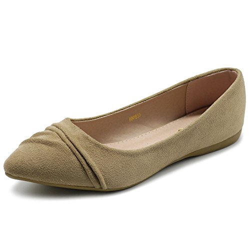 Ollio Women's Shoe Ballet Dress Faux Suede Pleated Pointed Toe Flat