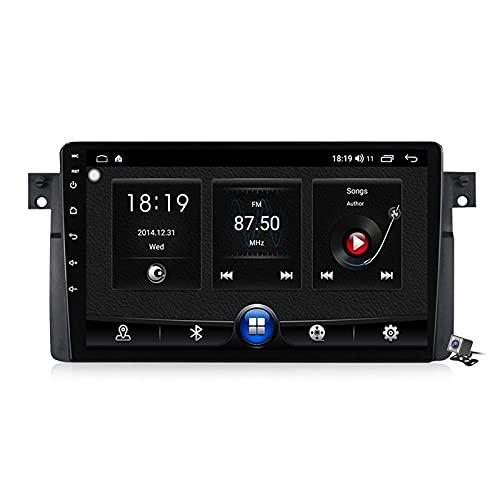 Android 10 coche GPS navegación multimedia Radio 9 pulgadas QLED pantalla para BMW Serie 3 E46 1998-2006, soporte FM DSP RDS/Carplay Android Auto/BT/Split pantalla/control del volante