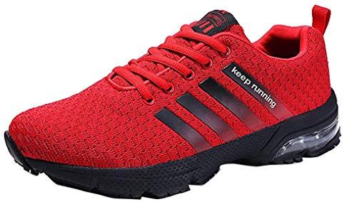 Hombre Zapatillas de Correr Casual para Deportivas de Malla Zapatillas Antideslizantes Zapatillas Ligeras Rojo 39