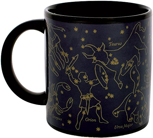 Heat Changing Constellation Mug - Gold Stars - Add Coffee or Tea and 11 Constellations Appear - Comes in a Fun Gift Box