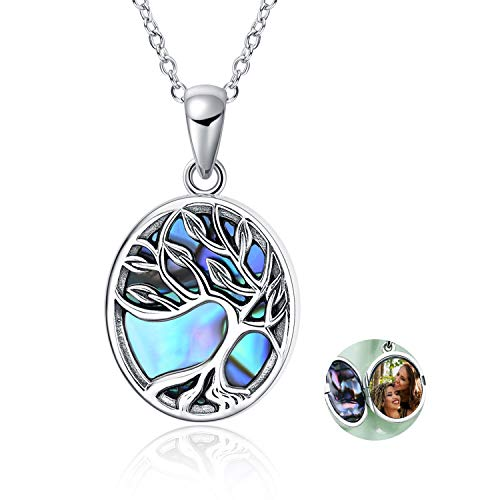 Tree of Life Locket Necklace Sterling Silver Locket Necklace That Holds Pictures Tree of Life Locket Pendant Jewelry Gift for Women